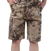 דלת החוצה דפוס פיתון הסוואה צבאי mens מהיר יבש מכנסיים קצרים מטען טקטיים צבא זכר עם כיס חמישה מכנסיים קצרים