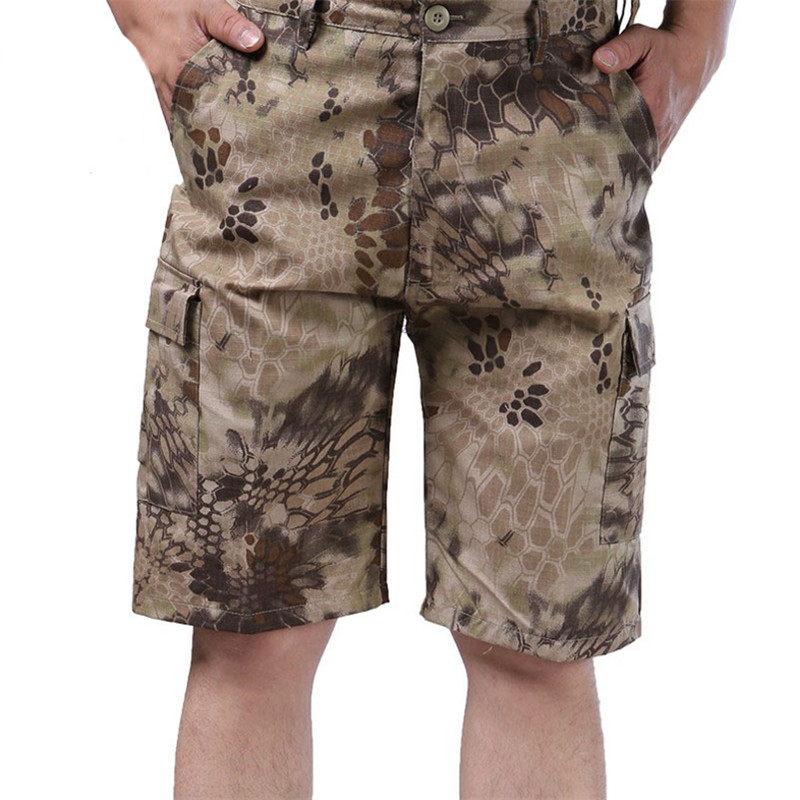 Out door military mens Quick Dry Camouflage Python pattern Short pants Tactical Cargo male with pocket Army Five short pants