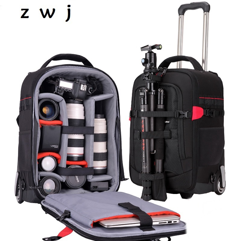 Waterproof Professional camera luggage backpack Camera suitcase for 2*DSLR + 7*Lens Travel Photographer Photo VideoWaterproof Professional camera luggage backpack Camera suitcase for 2*DSLR + 7*Lens Travel Photographer Photo Video