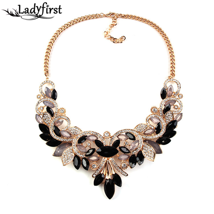 New Arrival Spring Colorful Crystal Women Brand Maxi Statement Necklaces Pendants Vintage Turkish Jewelry Necklace 2605