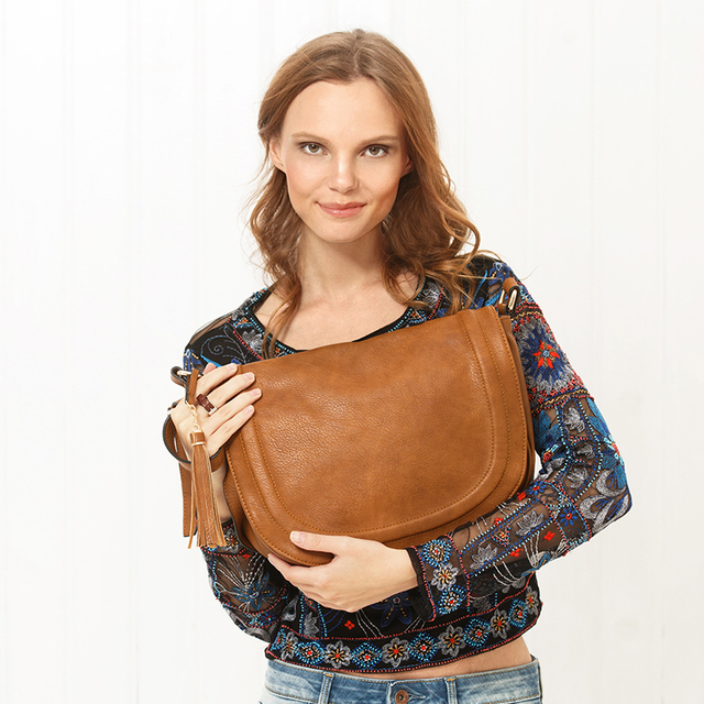 AMELIE GALANTI Large Saddle Bag Crossbody Bags for Women Brown Flap Purses with Tassel Over the Shoulder Long Strap 1