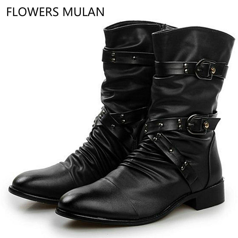 2018 New Arrival Autumn Winter Fashion Style Cool Men Boots Black Leather Upper Pointed Toe Three Buckle Side Zip Male Shoes new fashion boots autumn cool