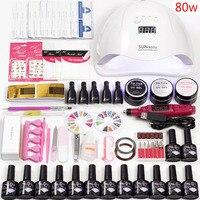 Электрическая машина маникюрная ручка маникюрные инструменты набор для акриловых ногтей 36 Вт/48 Вт/80 Вт Светодиодная лампа для ногтей 12 цвет...