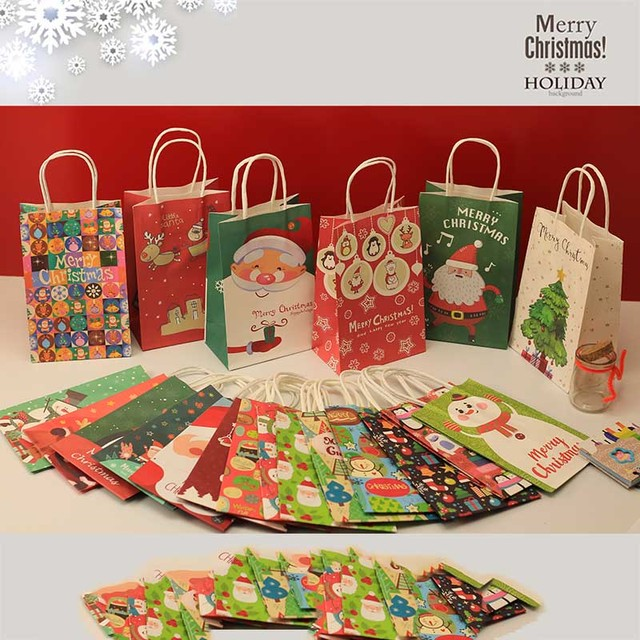 10pcs Christmas Decoration Paper Gift Bags Craft Candy Food With Sticker Best Gift Bag For Christmas