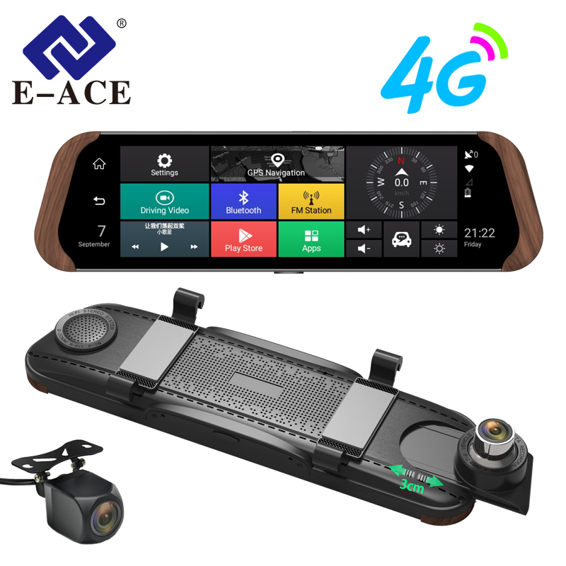 E-ACE Dvr автомобиля поток зеркало заднего вида камера 4G Android FHD 1080P 10 дюймов двойной объектив ADAS видео регистраторы Авто регистратор Dashcam