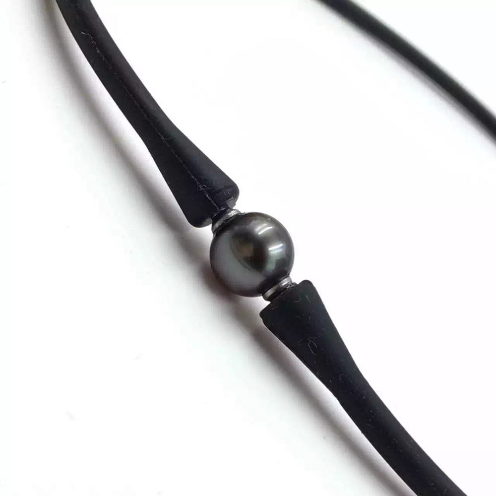 Choker Necklace, Korea Silicone Choker Necklace, Tahitian Pearl Necklace, 100% Genuine Tahitian Pearl Necklace, Free Shipping faux pearl detail glitter choker