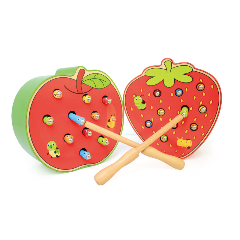 Early childhood education catch worm game color cognitive magnetic bugs wooden insects educational toys children
