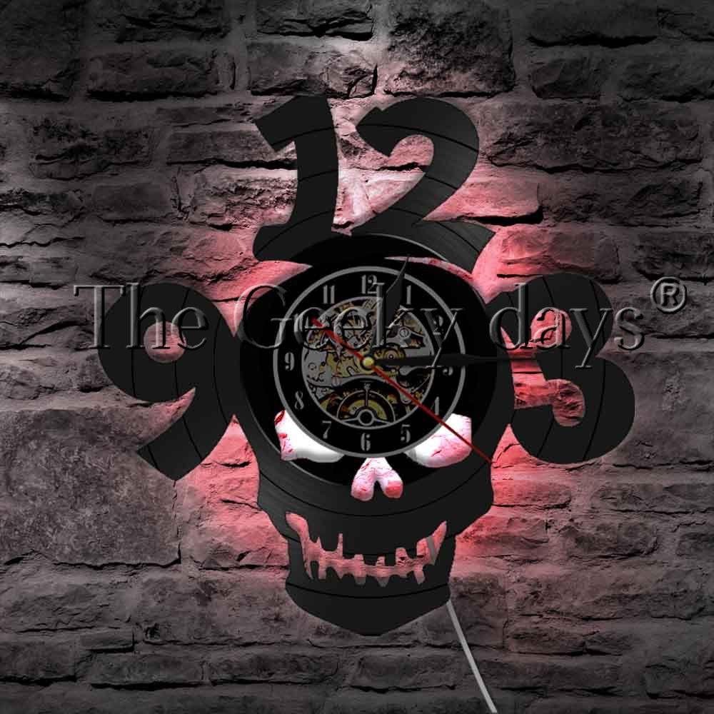 1Piece Halloween Horror Skull Vinyl Record Wall Clock Modern Design Big Numbers Devil Demon Skull Head Wall Clock Home Decor 3d skull design print halloween hoodie