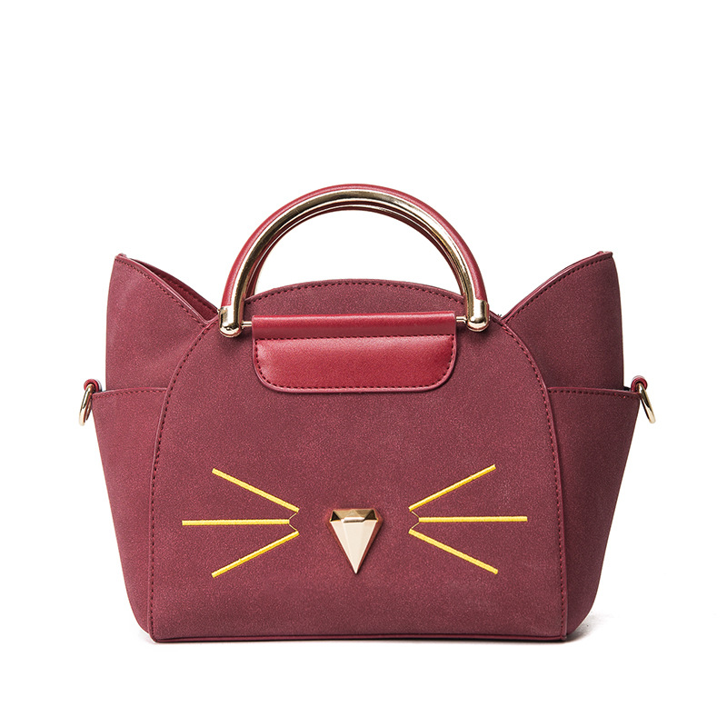 2017 Women's Shoulder Bag Women Small Cute Cat Messenger Bag Luxury Handbags Women PU Leather Bags Ladies Famous Designer Bag feral cat women small shell bag pvc zipper single shoulder bag luxury quality ladies hand bags girls designer crossbody bag tas