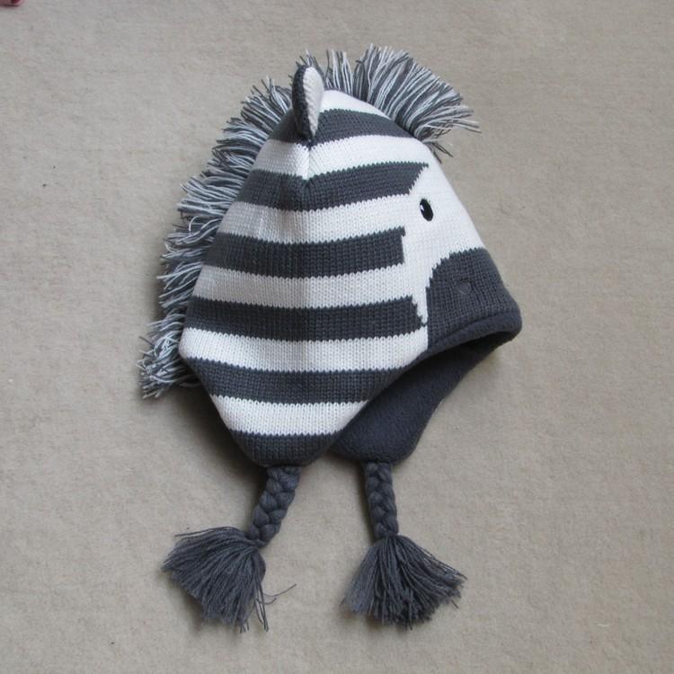 Baby Boys Winter Warm Hats Cartoon Zebra Pattern Caps Kids Knitted Caps Ear Flaps Beanies Children's Girls Cute Animal Sckullies 15