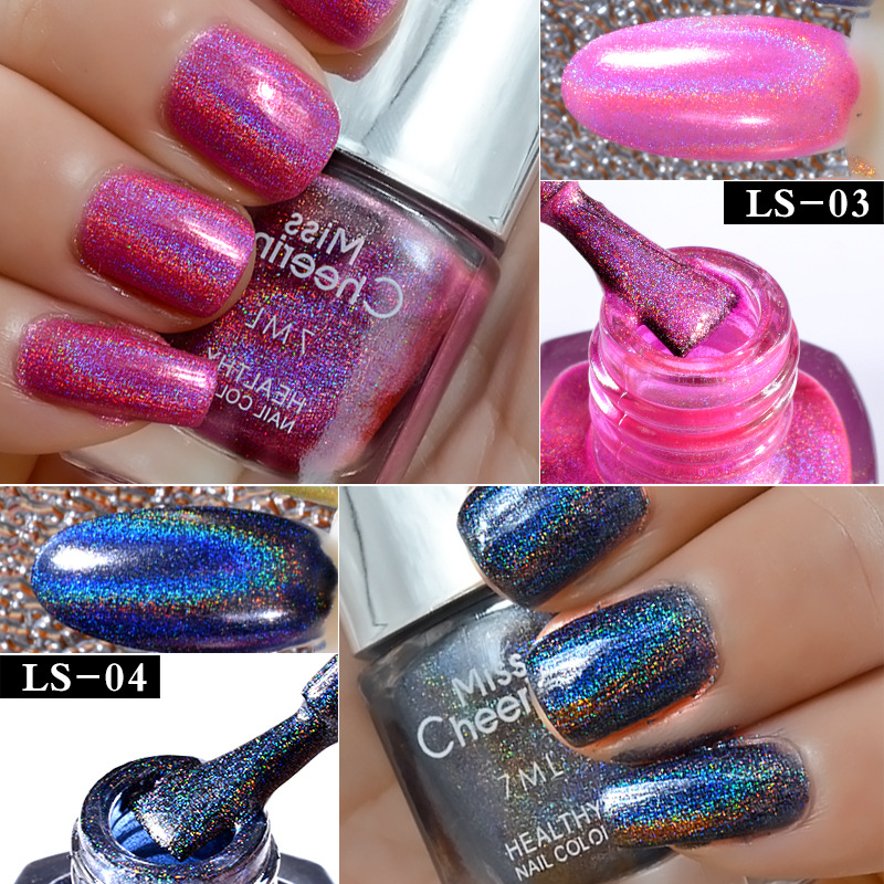 Misscheering 7ml Laser Nail Polish Art Holographic Glitter Diamond Environmental Colorful Magic Varnish Hologram In From Beauty Health On