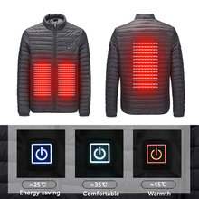 2019 New Infrared USB Heated Down Jacket Men Thermal Outdoor Electric Battery Abdominal Back Heating Long Sleeves Winter Clothes cheap Thick (Winter) Electric down jacket USB REGULAR Casual zipper Sleeveless Solid Broadcloth NONE Zippers Polyester COTTON