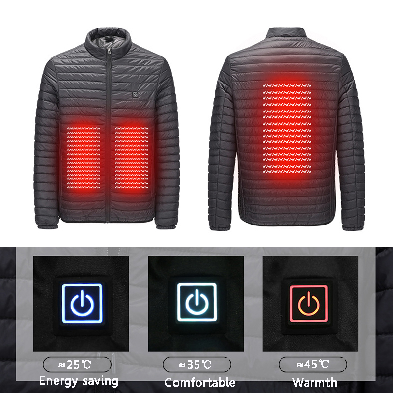2019 New Infrared USB Heated Down Jacket Men Thermal Outdoor Electric Battery Abdominal Back Heating Long Sleeves Winter Clothes