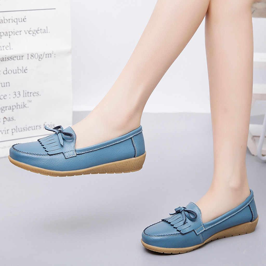 2019 แฟชั่นผู้หญิงรองเท้าแบนรองเท้าหนังแท้รองเท้าผู้หญิงรองเท้าสบายๆ Loafers สลิปบนรองเท้าแตะเลดี้ขับรถรองเท้า