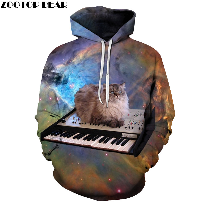 Space Cat Hoodies Men 3D Sweatshrits Hooded Pullover Fashion Tracksuit Printed 6XL Qauli ...