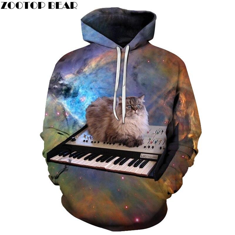 Space Cat Hoodies Men 3D Sweatshrits Hooded Pullover Fashion Tracksuit Printed 6XL Qaulity Brand Jacket Unisex Coats Boy Outwear