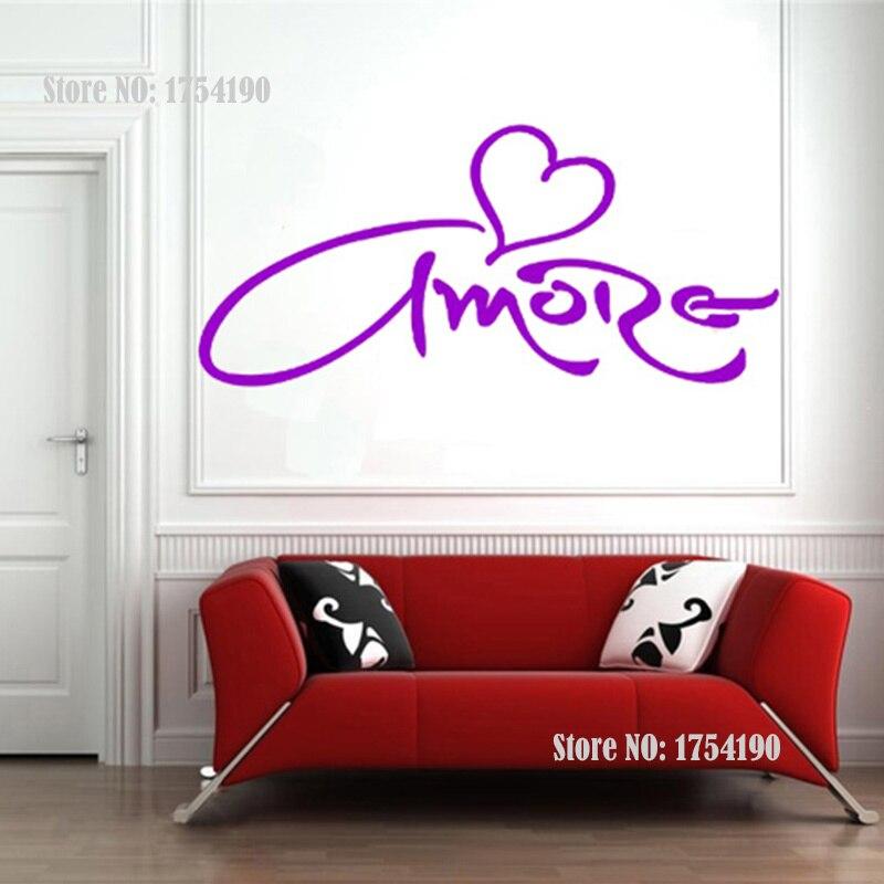 US $4.91 18% OFF|Amore Liebe Herz Wandtattoo Vinyl Aufkleber, Italienische  Sprache Wandtattoo Aufkleber Schlafzimmer Dekor, Freies Verschiffen-in ...