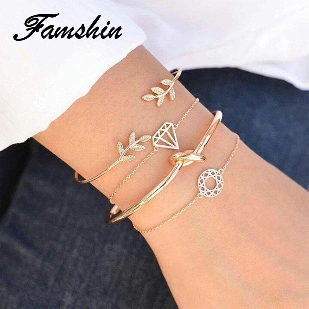 FAMSHIN 4 Pcs/Set Women Fashion Geometric Leaf Round Knotted Bracelet Summer Alloy Bohemian Gold Color Bracelet Jewelry Women