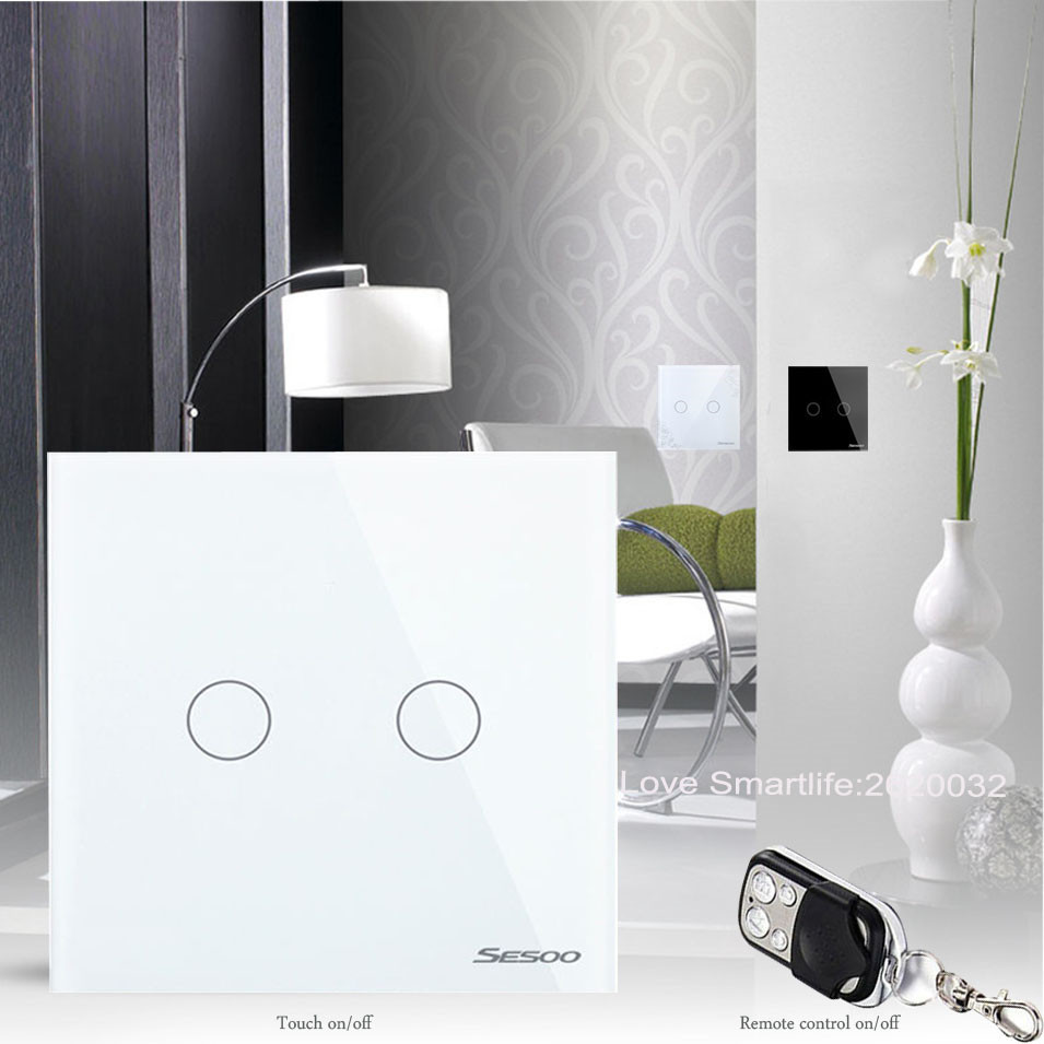 New Arrival EU Standard SESOO 2 Gang 1 Way Wireless Remote Control Wifi Wall Light Switch