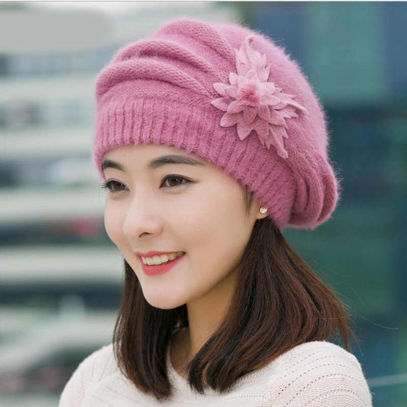 a739d8dd637 Hot Berets Hat Beanie Fashion Spring Autumn Winter Hat Warm Flower Knit  Crochet Cute Casual Cap