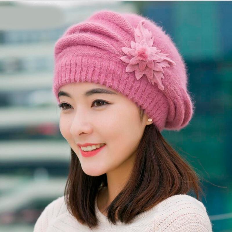 Hot Berets Hat Beanie Fashion Spring Autumn Winter Hat Warm Flower Knit Crochet Cute Casual Cap For Women's Girl Female