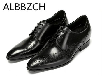Inside height increase genuine leather men shoes mens wedding dress shoes men pointed toe lace fashion trend career work shoes