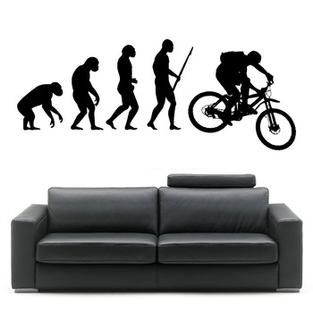 Darwin EVOLUTION OF MAN MOUNTAIN BIKE vinyl wall art sticker room decal Creative Bedroom Home Decor Mural Wallpaper D346