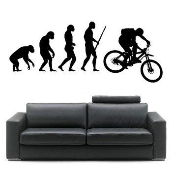 darwin evolutie van de mens mountainbike kamer sticker vinyl kunst aan de muur sticker home decor creatieve slaapkamer muurschildering wallpaper d346