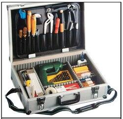Grande caixa de ferramentas alumínio prata ângulo direito alumínio caso toolkit metal com uma paleta com ajustar a inserção
