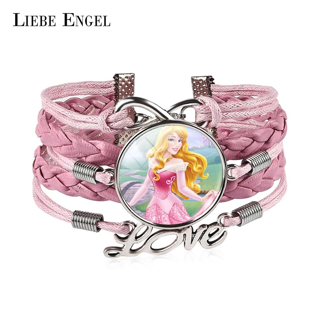 LIEBE ENGEL Fashion Anime Sleeping Beauty Glass Infinity Love Pink Leather Bracelet For Girls Women Accessories Jewelry Gift