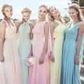 Кабриолет Многоцветный Шифон Платья для Подружек Невесты Long Maid of Honor Платье Розовый Свадебное Платье Vestidos de Dama de Honra BMD94