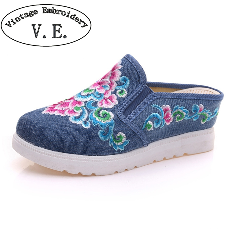 Vintage Women Slippers Summer New Fashion Chinese Embroidered Slip-on Ladies Wedge Platforms Comfort Sandals Shoes Woman women slippers embroidered shoes vintage faux suede sandals rhinestone pointed toe soft slip on cotton shoes woman plus size 43