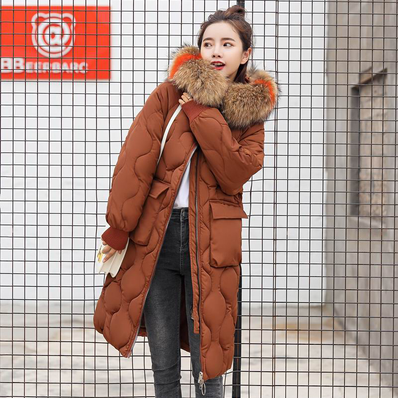 Beige Col Parkas caramel Fourrure Long De Jaqueta Zipper Manteaux Parka Grand noir Pocket rust Automne Mode Hiver Chaud Big Veste Feminina Coloré ardoisé Femmes rouge Red Hqa4wP4