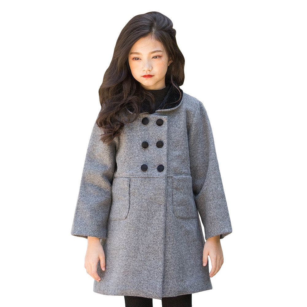 black gray school style long coat age for 4- 14 yrs teenage girls thick warm outerwear 2018 autumn spring bigs girls simple tops children clothes knit 2pcs set age for 4 14 yrs teenage girls winter thick warm school style outfits long sleeve sweater pants
