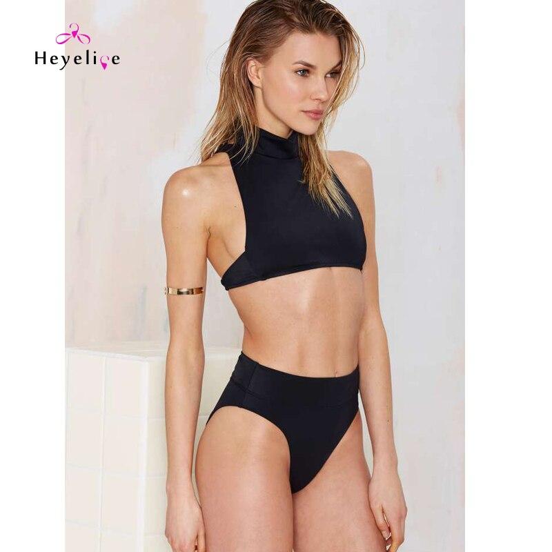 Bikinis Set New High Neck Bikinis Swimwear Women Black Sexy Swim Suit High Waist Thong Brazilian Biquinis Bathing Suits New Maillot De Bain Catalogues Will Be Sent Upon Request