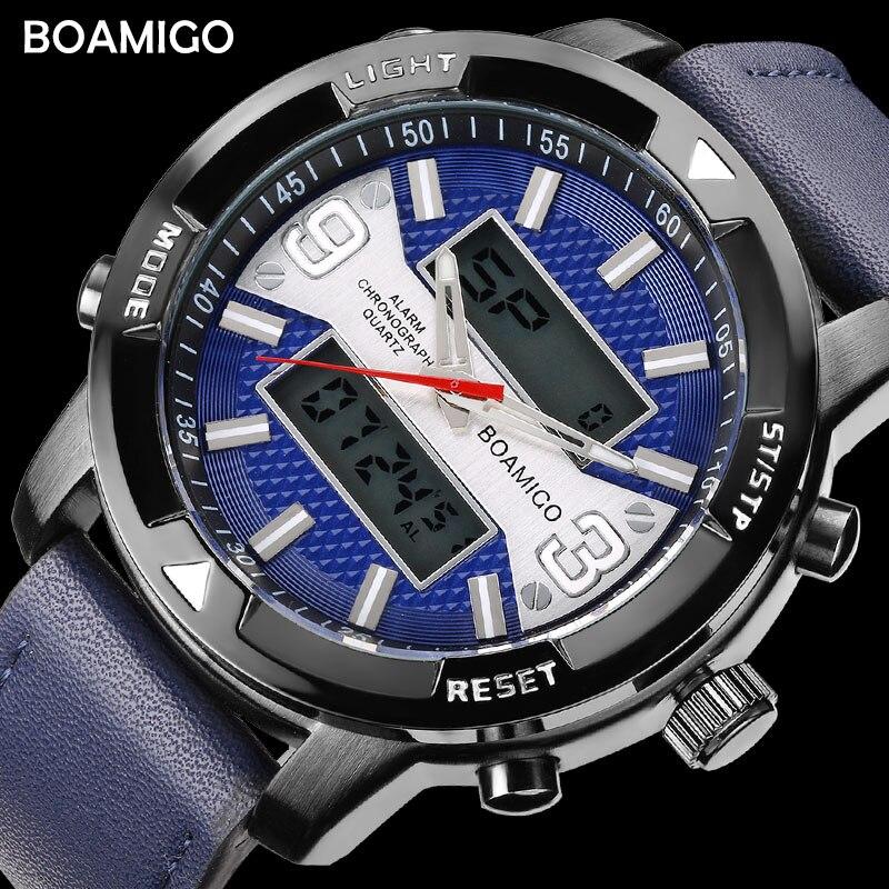 BOAMIGO Brand Sport Watches Mens Date Leather Strap Quartz Military Male Watch LED Digital Waterproof Wristwatch Clock Masculino цена