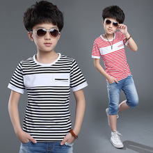 2018 Summer Boy T Shirt Casual Striped All-Match Cotton Teenager Kids Top Child Boys Clothes For 5 6 7 8 9 10 11 12 Years