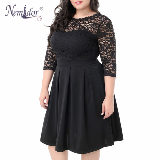 Women Vintage 3/4 Sleeve Casual Lace Top Overlay A-line Dress O-neck Plus Size 8XL 9XL V-low Back Party Midi Swing Dress 4