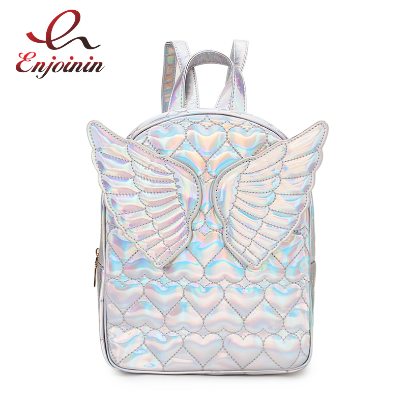Dazzling Fashion Heart Embossed Wings Decorated Girls Mini Backpack Shoulder Bag Travel Bag School Bags For Teenage Girl BolsaDazzling Fashion Heart Embossed Wings Decorated Girls Mini Backpack Shoulder Bag Travel Bag School Bags For Teenage Girl Bolsa