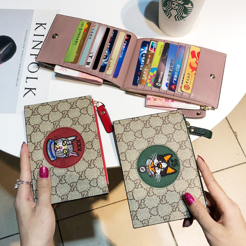 Porte-carte d'identité carte de crédit en cuir véritable femmes Kawaii portefeuille carte portefeuille sac à main