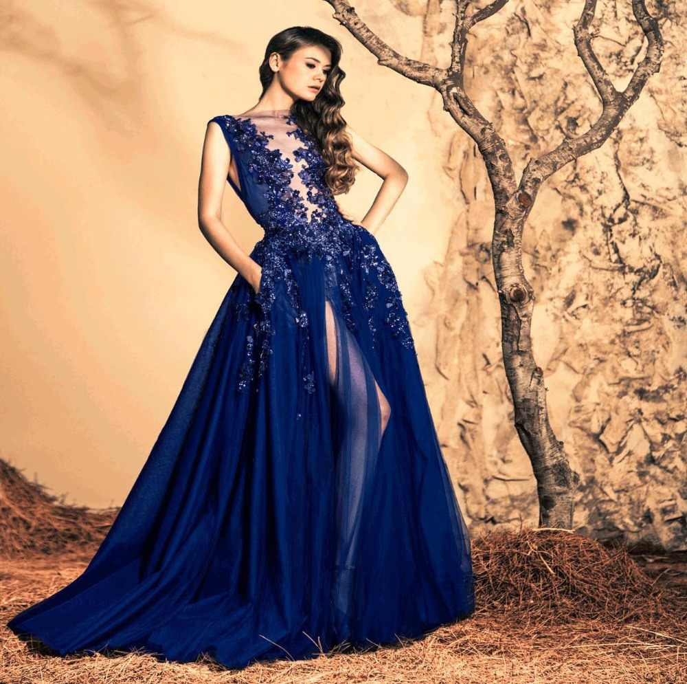 Dark Blue Ball Gown Open Leg Chiffon Party Fashion ziadnakad Evening Formal Gown With Appliques dresses