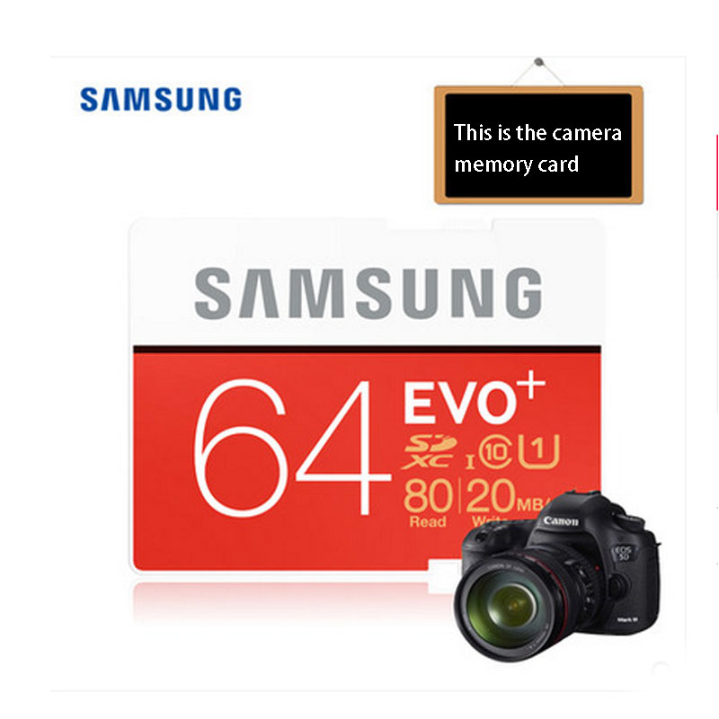 100% Original Samsung EVO+16GB/32GB/64GB SD Card Class10 Flash Memory Card Max up 80MB/s High Speed Camera SD Cards Camcorder