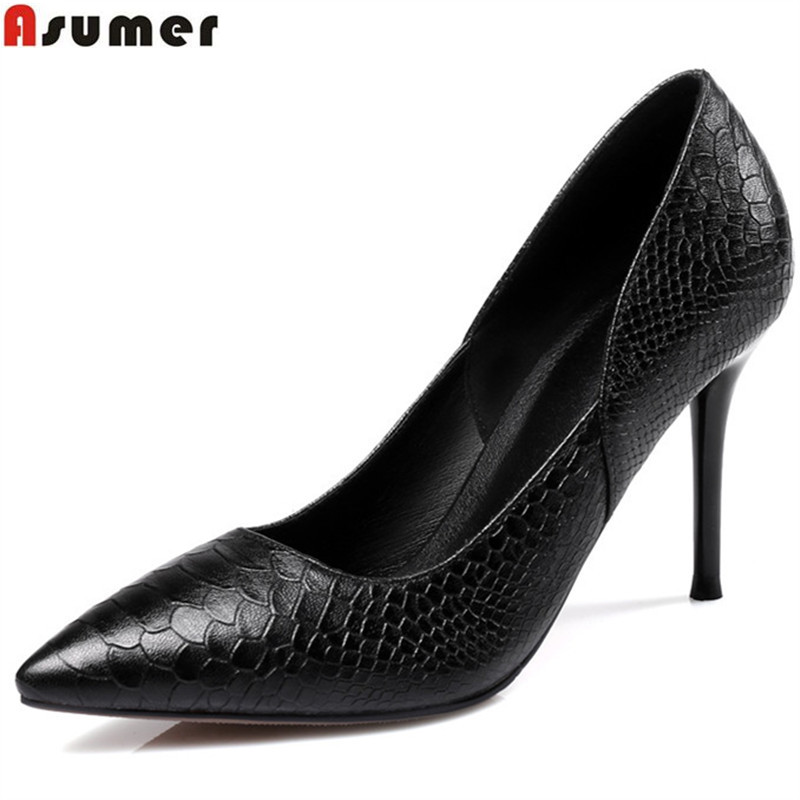 Asumer 2018 spring autumn new arrive women pumps fashion pointed toe genuine leather single shoes elegant ladies office shoes asumer white spring autumn women shoes round toe ladies genuine leather flats shoes casual sneakers single shoes