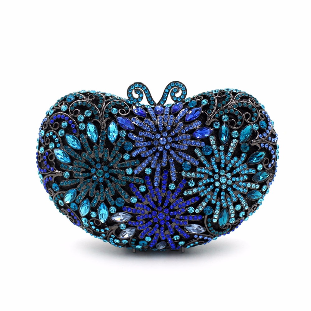 2017 New Blue Heart Women Evening Bag luxury Diamonds Bride Wedding Party Dinner Bag Ladies Single Shoulder Handbag Day Clutches