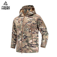 Military Tactical Uniforms Army Camouflage Jacket Waterproof Soft Shell Windbreaker Coat Hooded Camo Hunt Clothes unisex