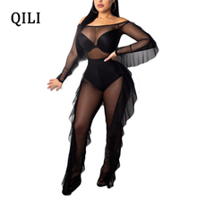 QILI Club Sexy Off Shoulder Jumpsuits Women Long Sleeve Ruffles Two Piece Set Black Mesh See Through Bodycon Overalls