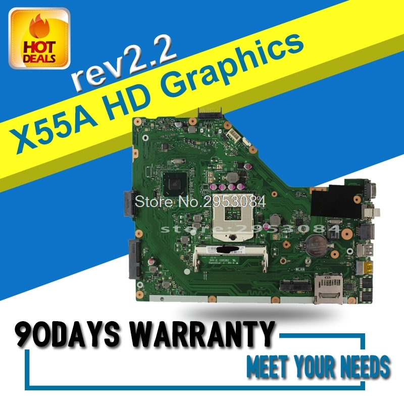 Original X55A REV.2.2 Laptop Motherboard for asus X55A series system board sjtnv pga989 ddr3 HM70 Integrated test before shippin samxinno original for asus x55a laptop motherboard rev 2 1 2 2 100% tested perfect integrated mainboard