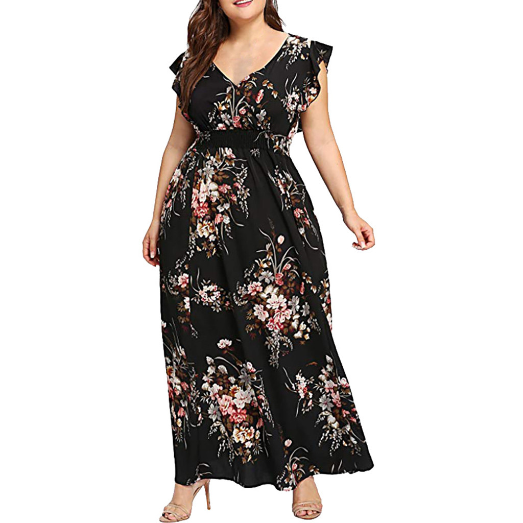 Frauen Plus Größe Sommer V-ausschnitt Floral Print Boho Ärmellose Party Kleid l bunte atmen bequem mode