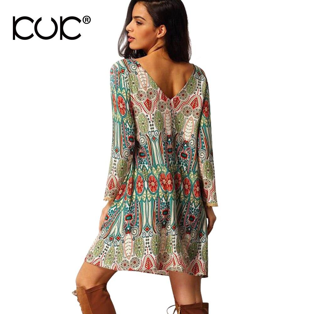 505278d5dc1e Kuk Etnico Dress Vestido Hippie di Boho Chic Summer Beach Tunica Stampa  floreale 3XL Plus Size Abbigliamento Donna Backless Abito Retrò A145 in Kuk  Etnico ...