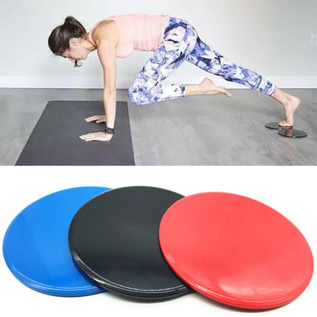 1 pair black Fitness Gliders Gym Slider Workout Discs Core Ab
